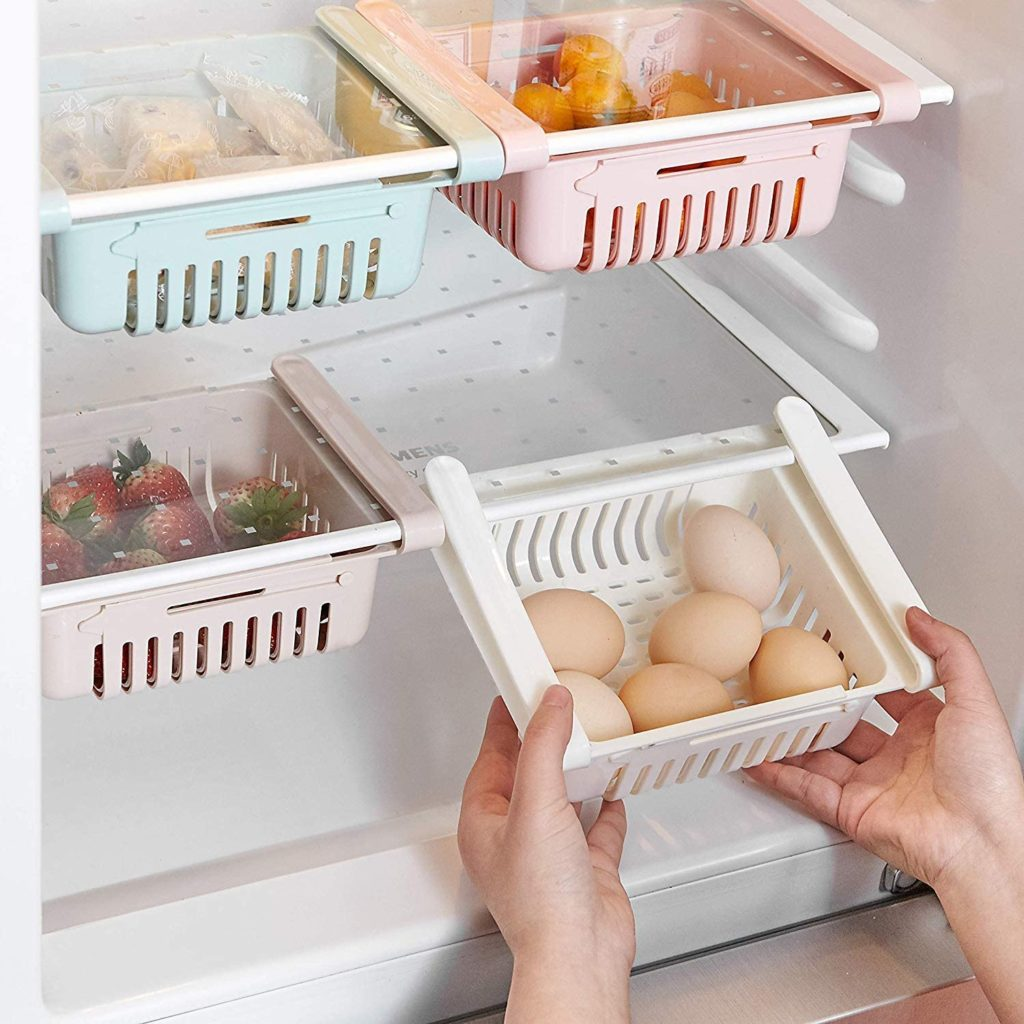 A drawer organizer for a fridge is a great space-saver
