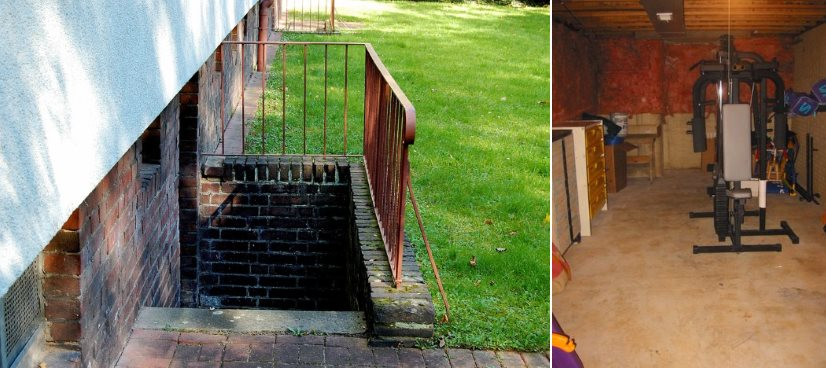 A two-in-one picture (one from Joergelman of pixabay, the other from Wikipedia) showing both the outside access and inside view of a basement, in this case being used as a gym.
