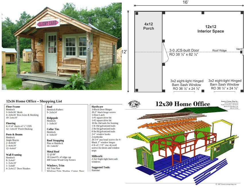 Examples of the Jamaica Cottage Shop 12x16' home office which has an undercover porch area, and whose plans are very affordable.