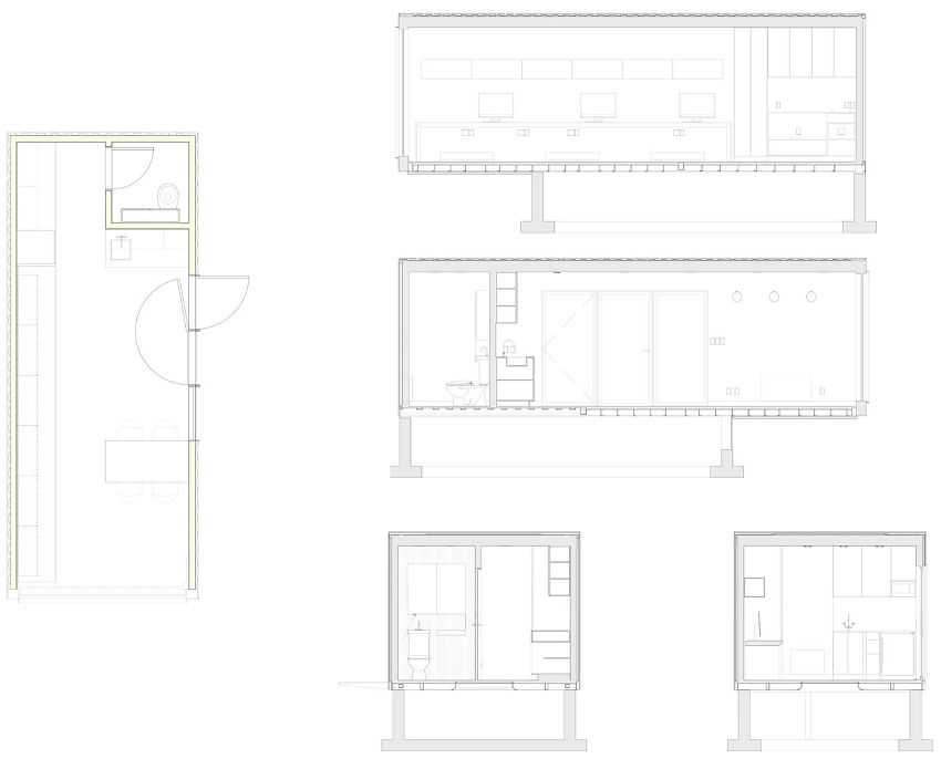 Floor plan from Dwell's article which looks at a successfully converted shipping container, which is now a great multi-person office space.