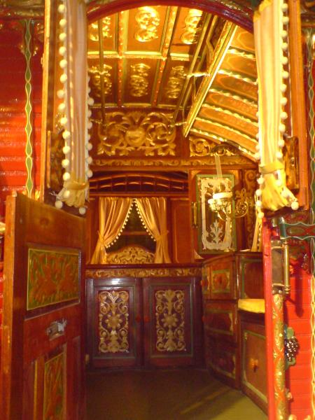 The very plush interior of a Gypsy wagon, from Wikipedia.