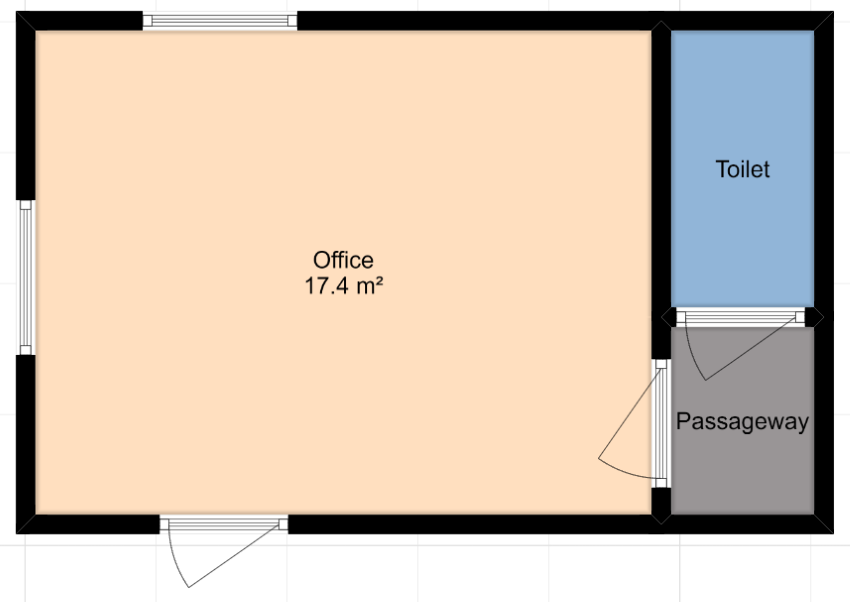 An improved floor plan with a good size office area and then a small toilet/bathroom area to the right: but only accessible via a separate passageway.