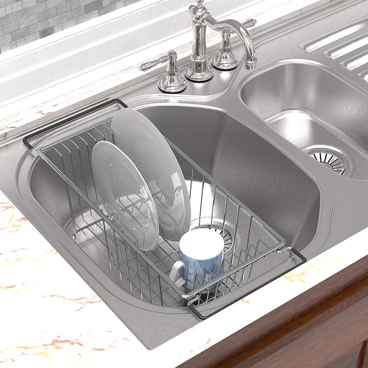 An Amazon product picture of the Simple Houseware over-sink dish drainage rack.