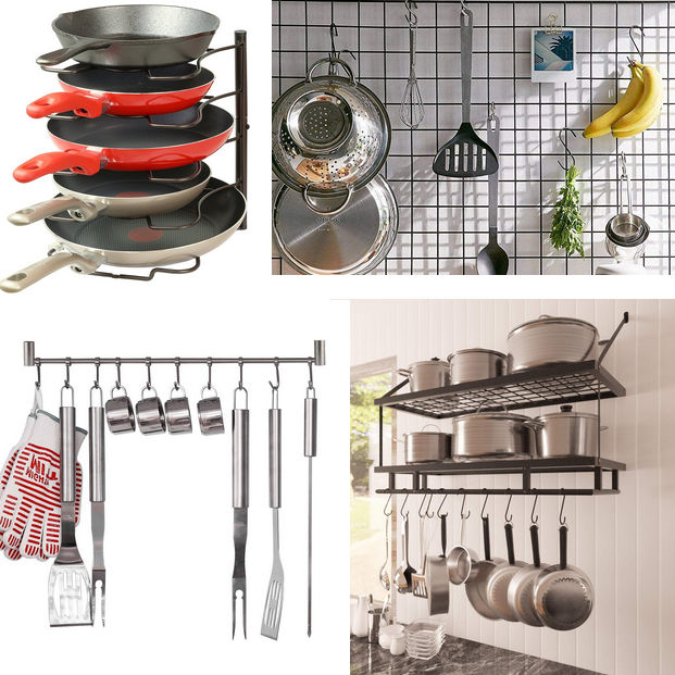 Four image collage showing pan vertical rack (top left), metal storage grid (top right), hanging rail (bottom left) and rack and pot shelf/rails (bottom right).
