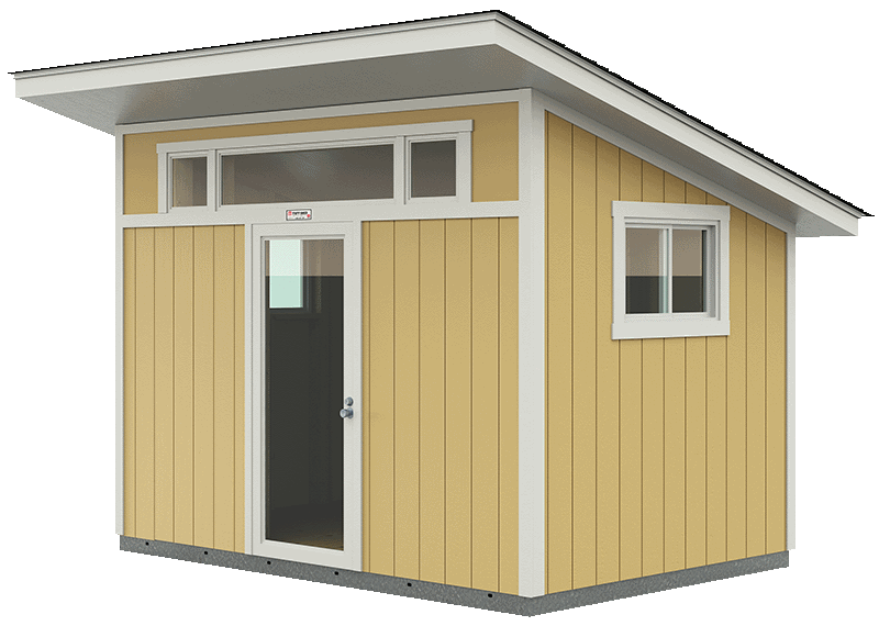 Tuff Shed's Premier Pro Studio with a 12-24 inch roof overhang, tall windows and a clear-glass window.