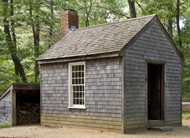 A replica of Henry David Thoreau's cabin where he wrote Walden, from Wikipedia.
