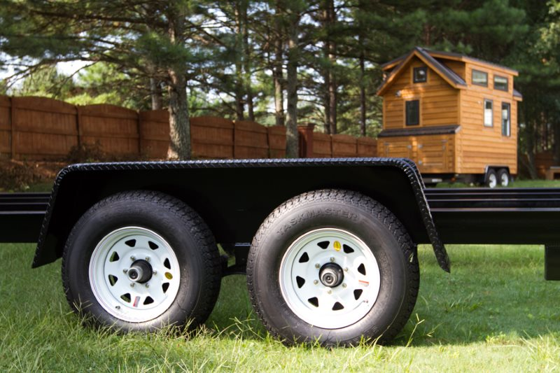 Tiny Home Builder's trailer where the frame is fairly low tothe ground, from Tiny HomeBuilder's website.