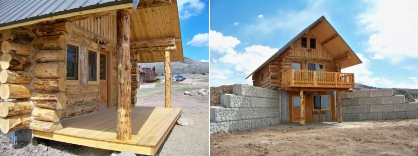 A two-in-one picture: the left hand picture shows the front entrance to the main house, whilst the right picture shows the basement entrance, thanks to Montana Mobile Cabins.